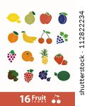 fruit icon set  vector  | Shutterstock .eps vector #112822234