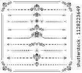 vintage set of decorative... | Shutterstock . vector #1128223649