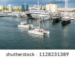 port with yachts in barcelona ... | Shutterstock . vector #1128231389