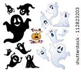 set of halloween ghost ... | Shutterstock .eps vector #112823203