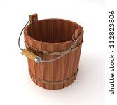 Empty Wooden Bucket On White...