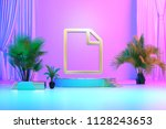 isolated gold icon with plants... | Shutterstock . vector #1128243653