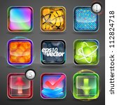 Vector app application icon glossy copyspace buttons set of nine eps10 glossy emblems - stock vector