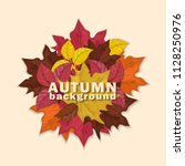 autumn background with colorful ... | Shutterstock .eps vector #1128250976
