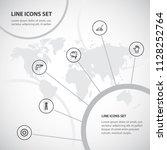 set of 6 editable equipment... | Shutterstock .eps vector #1128252764
