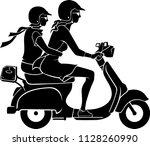 women on scooter bike ride   Shutterstock .eps vector #1128260990