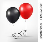 optical glasses attached to red ... | Shutterstock .eps vector #1128261059
