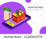 order food  grocery online from ... | Shutterstock .eps vector #1128262976