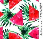 summer watercolor fruit pattern ... | Shutterstock . vector #1128266369