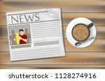 newspapers and coffee on the... | Shutterstock .eps vector #1128274916