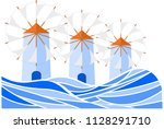 greek island windmills vector... | Shutterstock .eps vector #1128291710