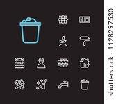 housework icons set. bucket and ...