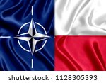 flag of poland and nato silk | Shutterstock . vector #1128305393