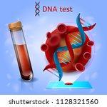 dna blood test realistic vector ... | Shutterstock .eps vector #1128321560