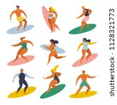 surf girls and boys surfing in... | Shutterstock .eps vector #1128321773