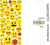 world emoji day greeting card... | Shutterstock .eps vector #1128323090