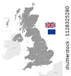 grey vector map of the uk with... | Shutterstock .eps vector #1128325280
