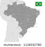 grey vector map of brazil with... | Shutterstock .eps vector #1128332780