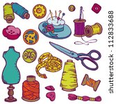 sewing kit doodles   hand drawn ... | Shutterstock .eps vector #112833688