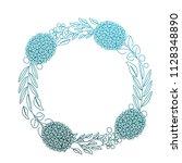 wreath flowers leaves ornament... | Shutterstock .eps vector #1128348890