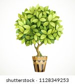 green decorative little tree in ... | Shutterstock .eps vector #1128349253