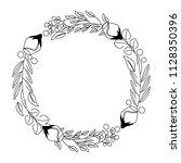 wreath flowers leaves ornament... | Shutterstock .eps vector #1128350396