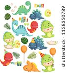 Stock vector a vector set of dinosaur birthday theme 1128350789