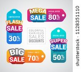 colorful various sale discount... | Shutterstock .eps vector #1128351110