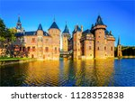castle on water landscape. red... | Shutterstock . vector #1128352838