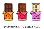 chocolate bar. cute cartoon... | Shutterstock .eps vector #1128357113