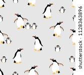 cute penguins family seamless... | Shutterstock .eps vector #1128363896