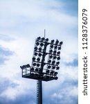 floodlight pylons in a football ... | Shutterstock . vector #1128376079