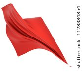 red cloth flowing in the wind... | Shutterstock . vector #1128384854