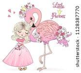 hand drawn cute little princess ... | Shutterstock .eps vector #1128387770