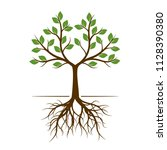 color shape of tree with roots. ... | Shutterstock .eps vector #1128390380