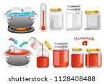 packing tomato sauce into a... | Shutterstock .eps vector #1128408488