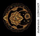 boho chic tattoo design. golden ... | Shutterstock .eps vector #1128411629