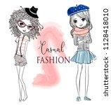 set with cute cartoon girls   Shutterstock .eps vector #1128418010