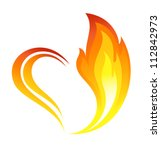 Abstract Fire Flames Icon With...
