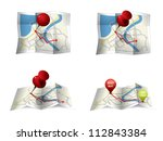 city map with gps icons and... | Shutterstock .eps vector #112843384