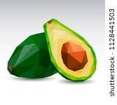 polygonal avocado. low poly.... | Shutterstock .eps vector #1128441503