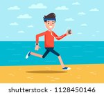 man with headphones jogging on... | Shutterstock .eps vector #1128450146