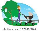 mom walks with a stroller | Shutterstock .eps vector #1128450374