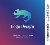chameleon logo design. icon.... | Shutterstock .eps vector #1128457439