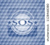 sos blue emblem with geometric... | Shutterstock .eps vector #1128468380
