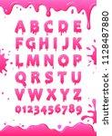 font of pink glaze. sweet... | Shutterstock .eps vector #1128487880