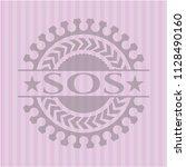 sos vintage pink emblem | Shutterstock .eps vector #1128490160