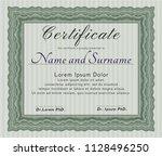 green certificate or diploma... | Shutterstock .eps vector #1128496250