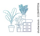 drawer with houseplants icons   Shutterstock .eps vector #1128499556