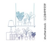 drawer with houseplants and lamp   Shutterstock .eps vector #1128499559